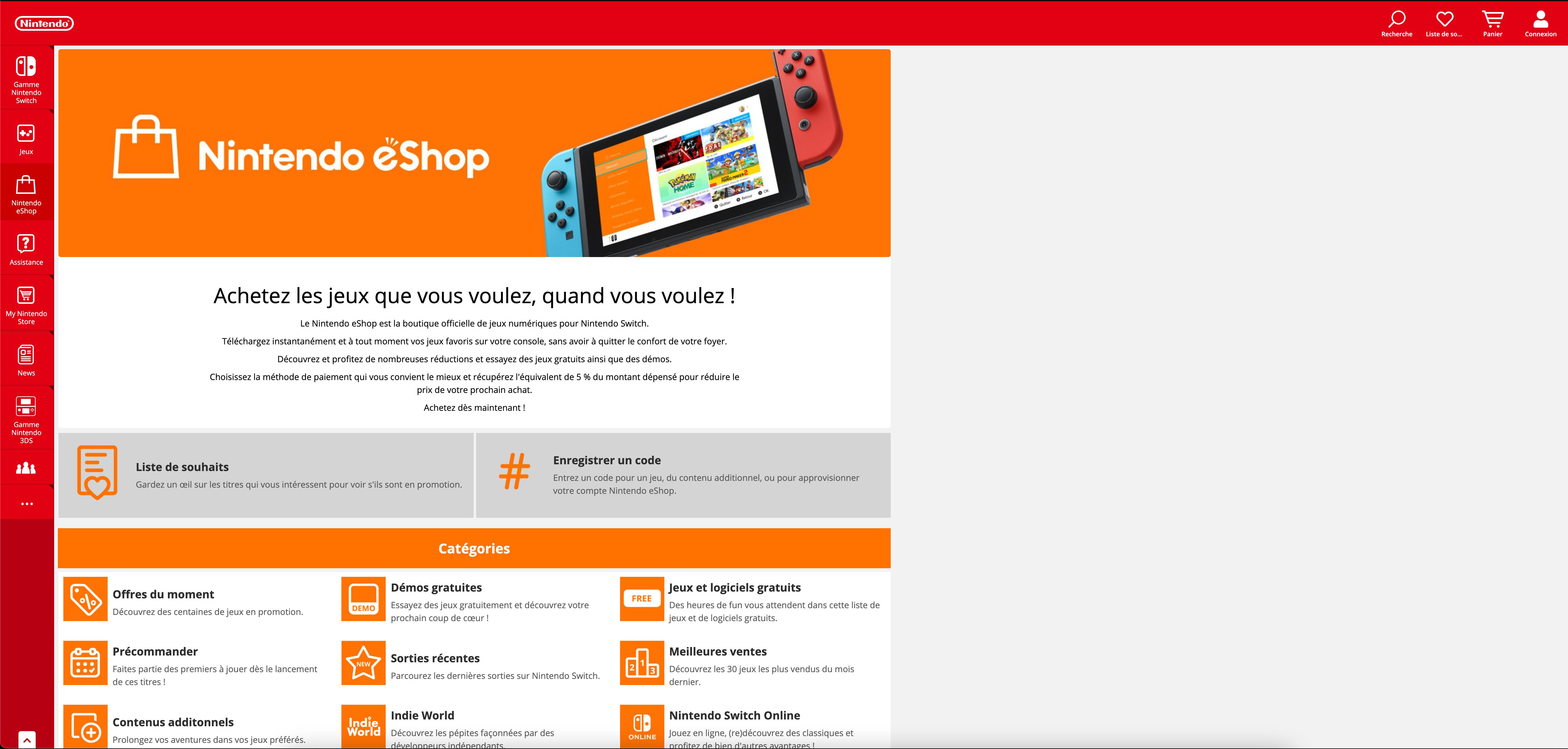Acheter une carte Nintendo eShop en ligne