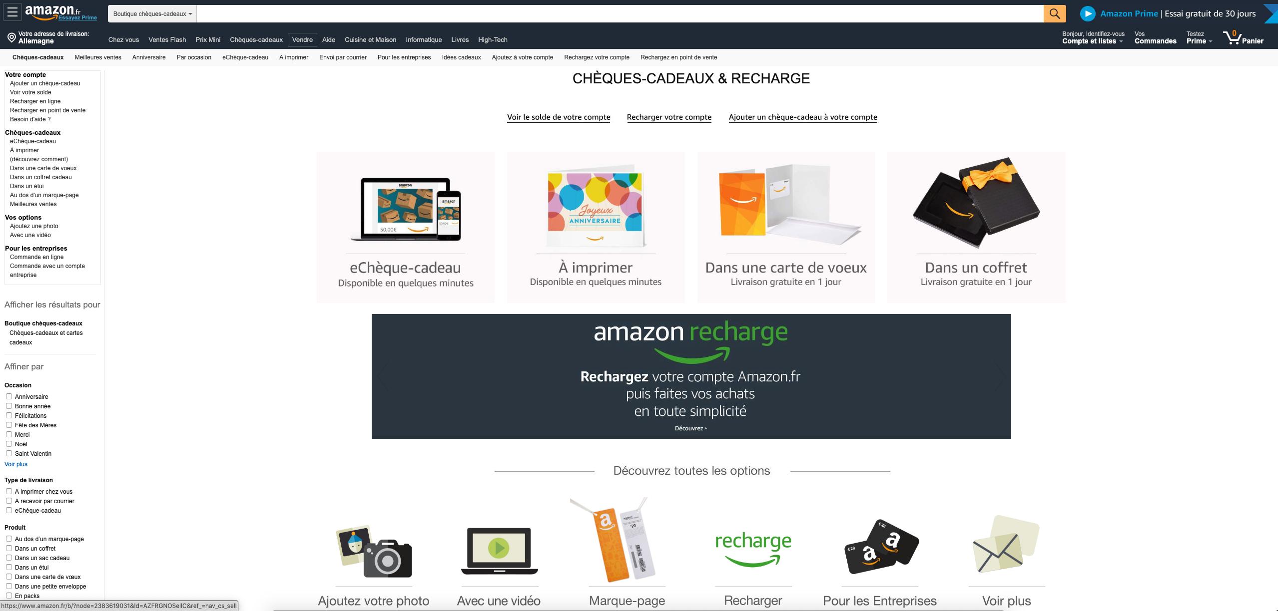 Achetez et utilisez le code Amazon maintenant