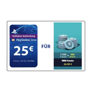 Fortnite 2.500 V-Bucks plus 300 Bonus (PS4 AT) - 25€ PlayStation Guthaben