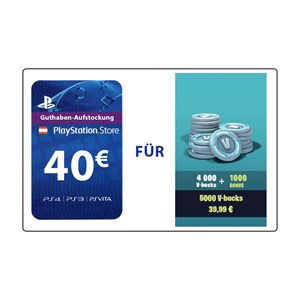 Fortnite 4.000 V-Bucks plus 1.000 Bonus (PS4 AT) - 40€ PlayStation Guthaben