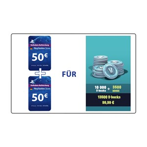 Fortnite 10.000 V-Bucks plus 3.500 Bonus (PS4 DE) - 100€ PlayStation Guthaben