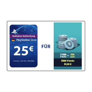 Fortnite 2.500 V-Bucks plus 300 Bonus (PS4 DE) - 25€ PlayStation Guthaben
